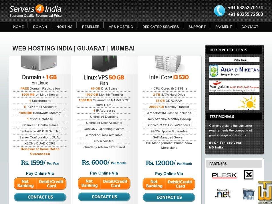 servers4india.com Screenshot