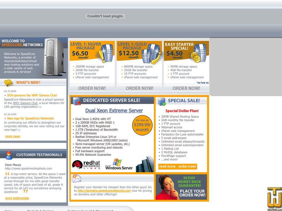 speedcorenetworks.com Screenshot