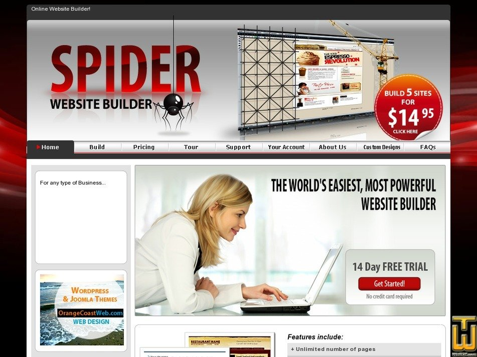 spidersitebuilder.com Screenshot