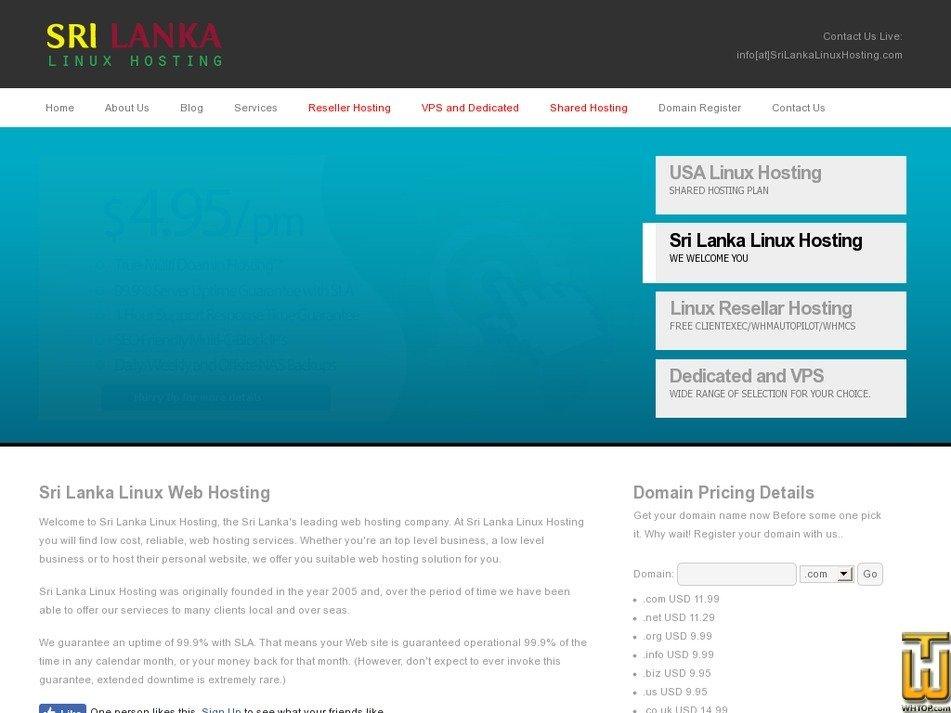 srilankalinuxhosting.com Screenshot