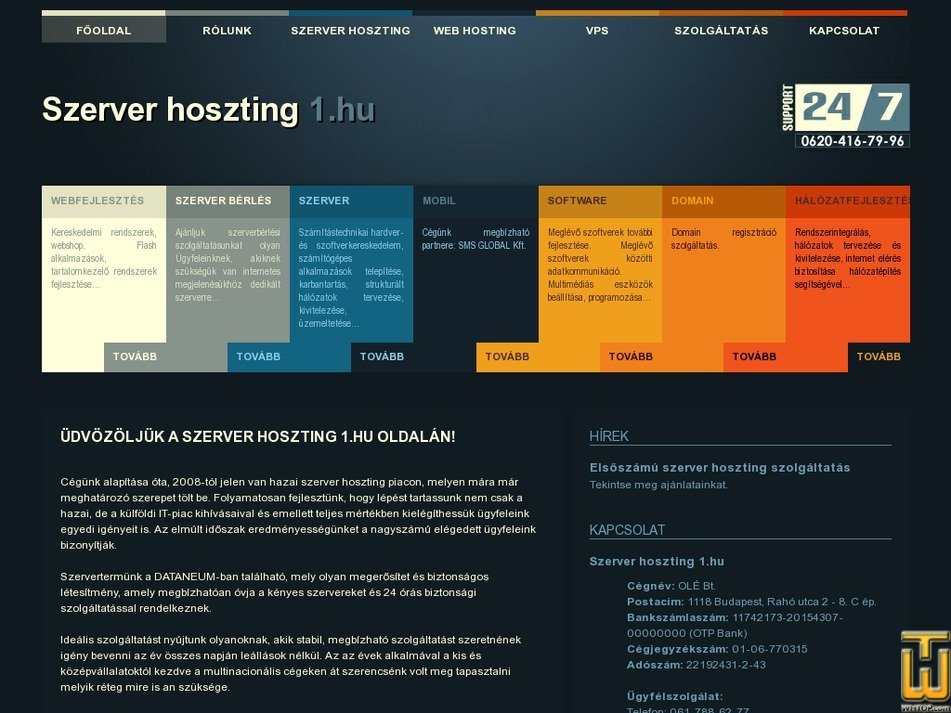 szerverhoszting1.hu Screenshot