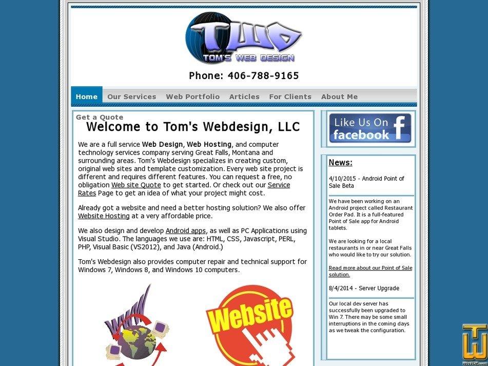 tomswebdesign.net screenshot