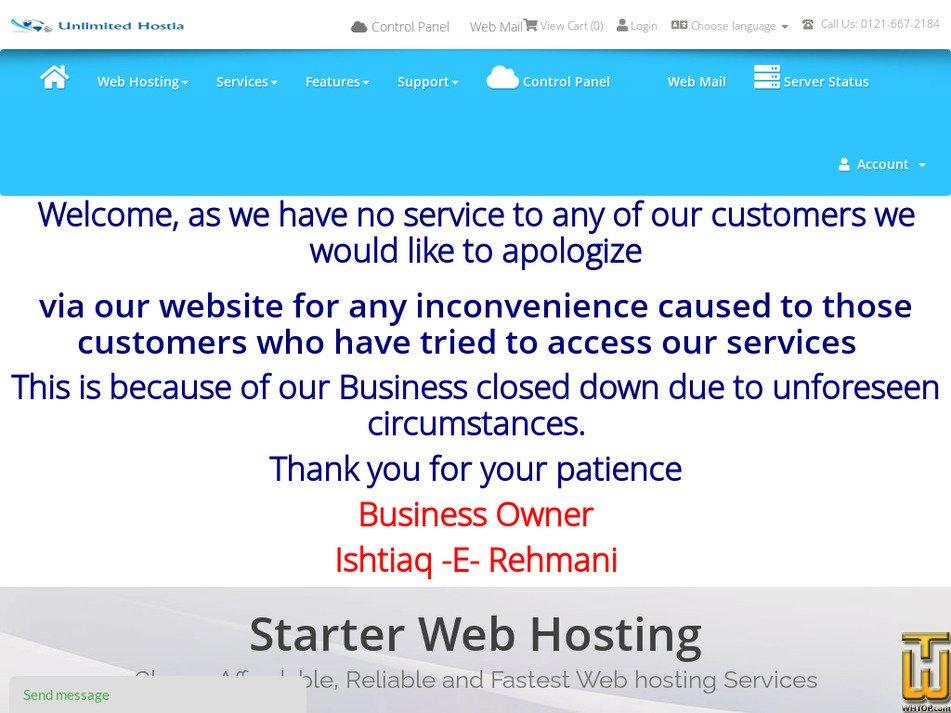 unlimitedhostia.com Screenshot