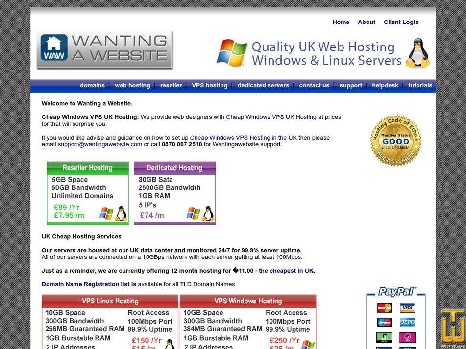 wantingawebsite.com Screenshot