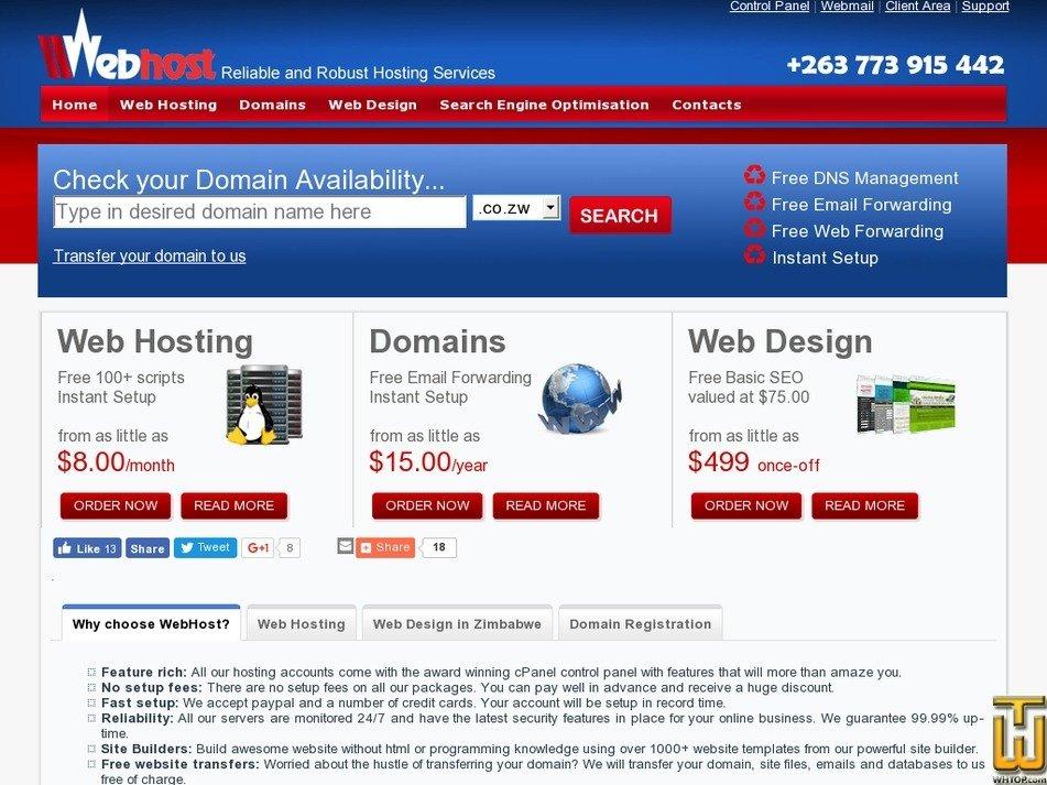 webhost.co.zw Screenshot