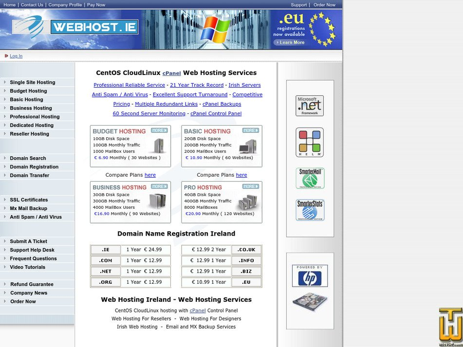 webhost.ie Screenshot