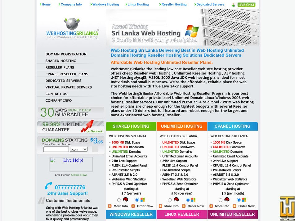webhostingsrilanka.com Screenshot