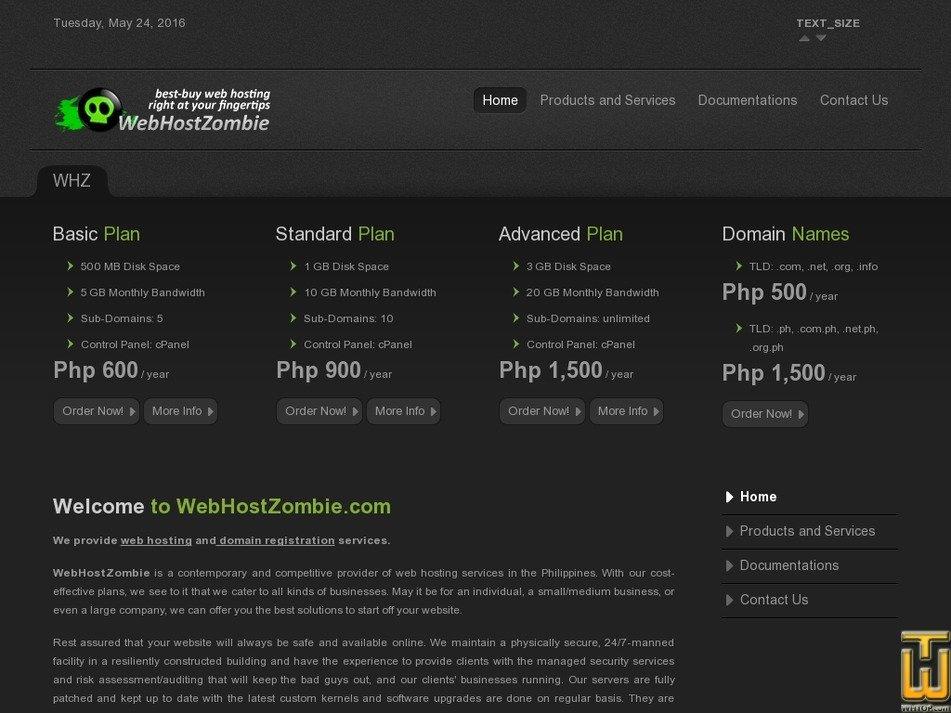 webhostzombie.com Screenshot