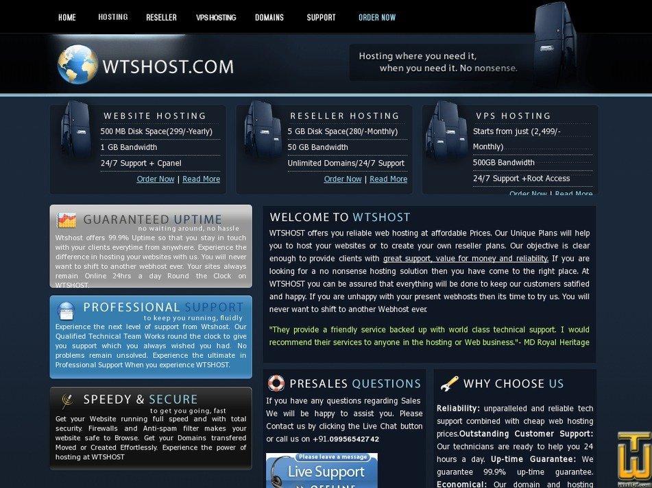 wtshost.com Screenshot