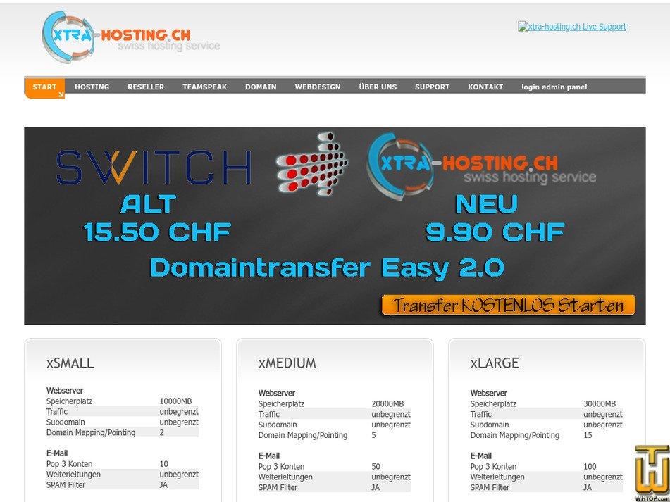 xtra-hosting.ch screenshot