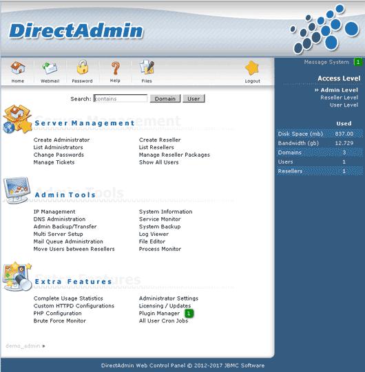 Directadmin dashboard