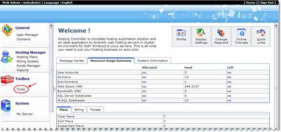 Hosting Controller dashboard
