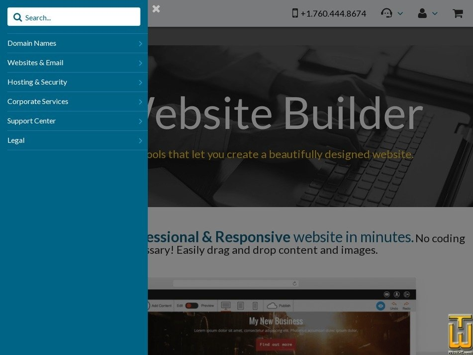 Screenshot of Free Website Builder from 101domain.com