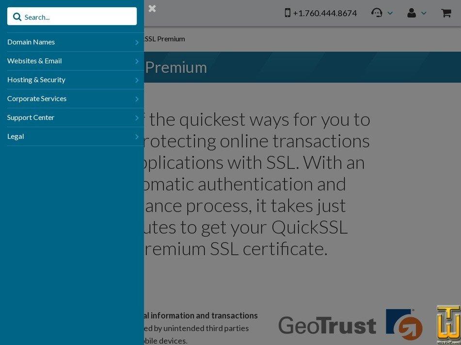 Screenshot of GeoTrust QuickSSL Premium from 101domain.com