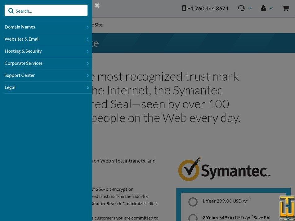Screenshot of Symantec Secure Site from 101domain.com