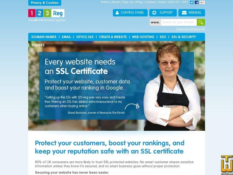 Screenshot of Organisational SSL from 123-reg.co.uk