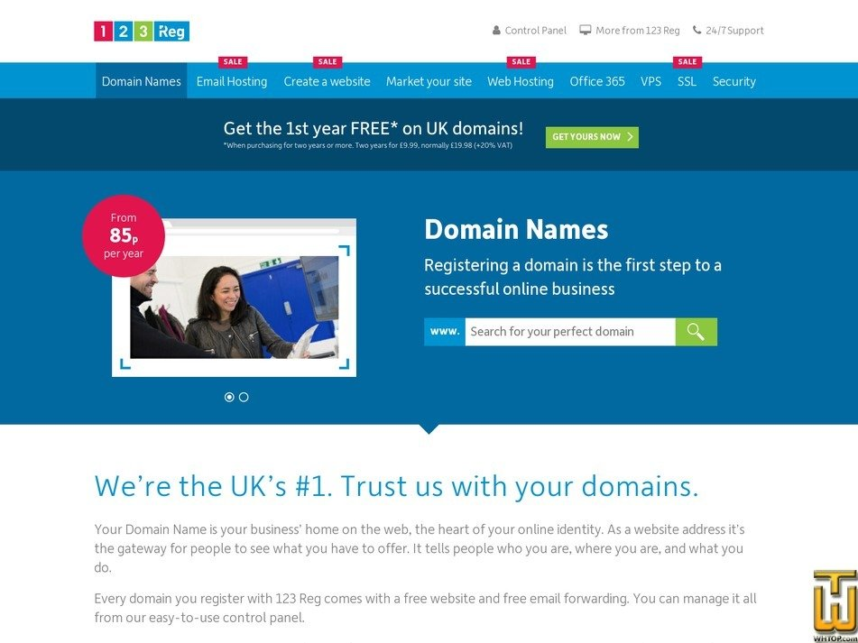 screenshot of .com from 123-reg.co.uk