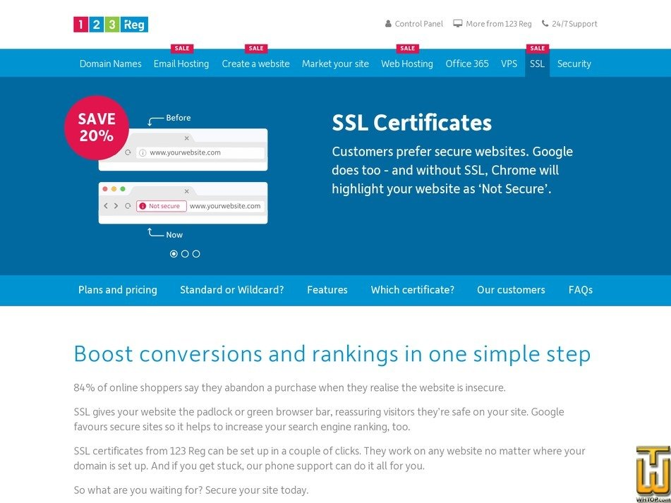 Screenshot of Extended SSL from 123-reg.co.uk
