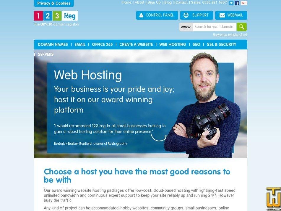 Screenshot of Essentials from 123-reg.co.uk