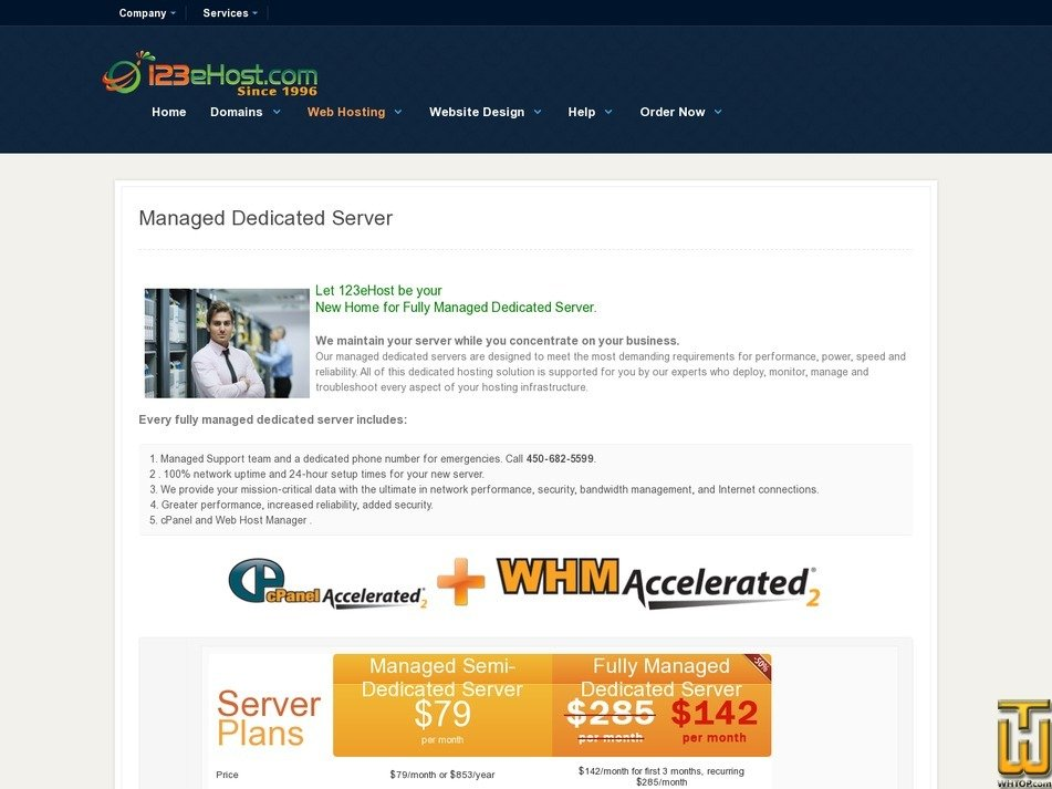 Screenshot of Fully Managed Dedicated Server from 123ehost.com