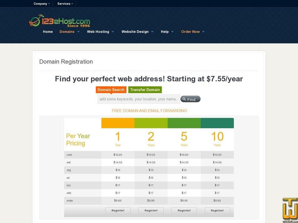 screenshot of .com from 123ehost.com
