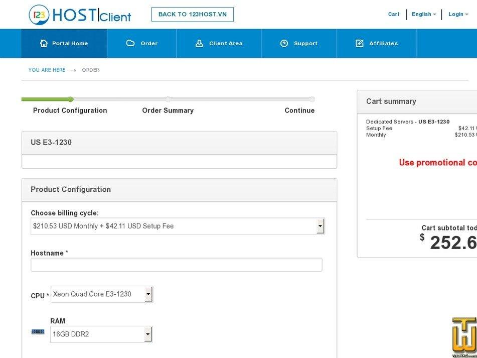 Screenshot of US E3-1230 from 123host.vn