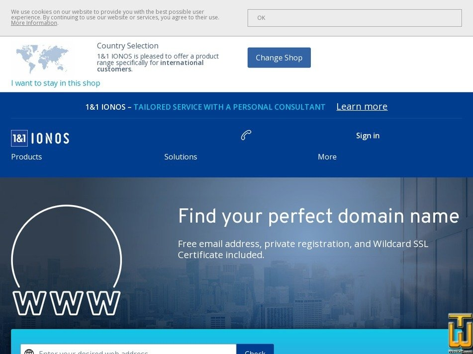 Screenshot of .com Domain from ionos.ca