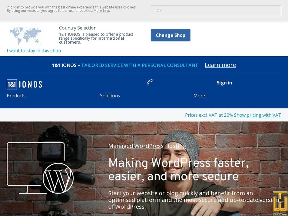 screenshot of WordPress Hosting Business from ionos.co.uk