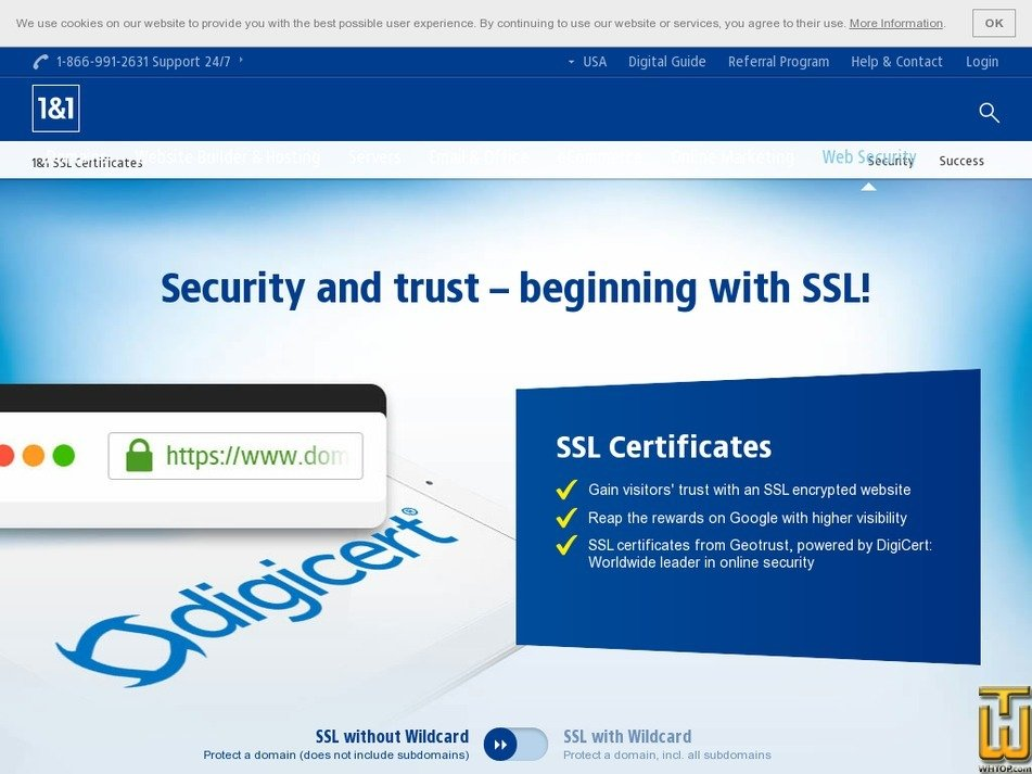 Screenshot of SSL Business from 1and1.com
