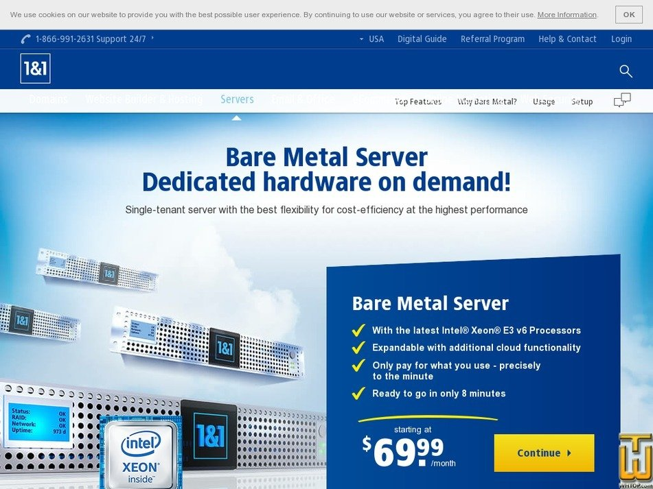 Screenshot of Bare Metal Server S from ionos.com