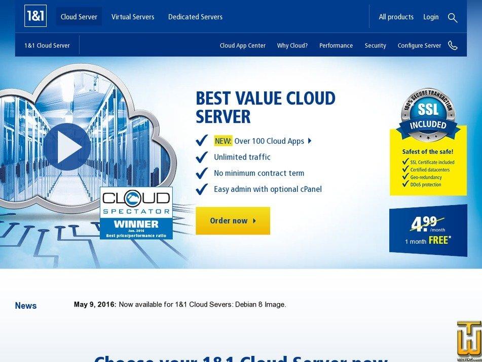 Screenshot of Cloud Server 4XL from 1and1.com