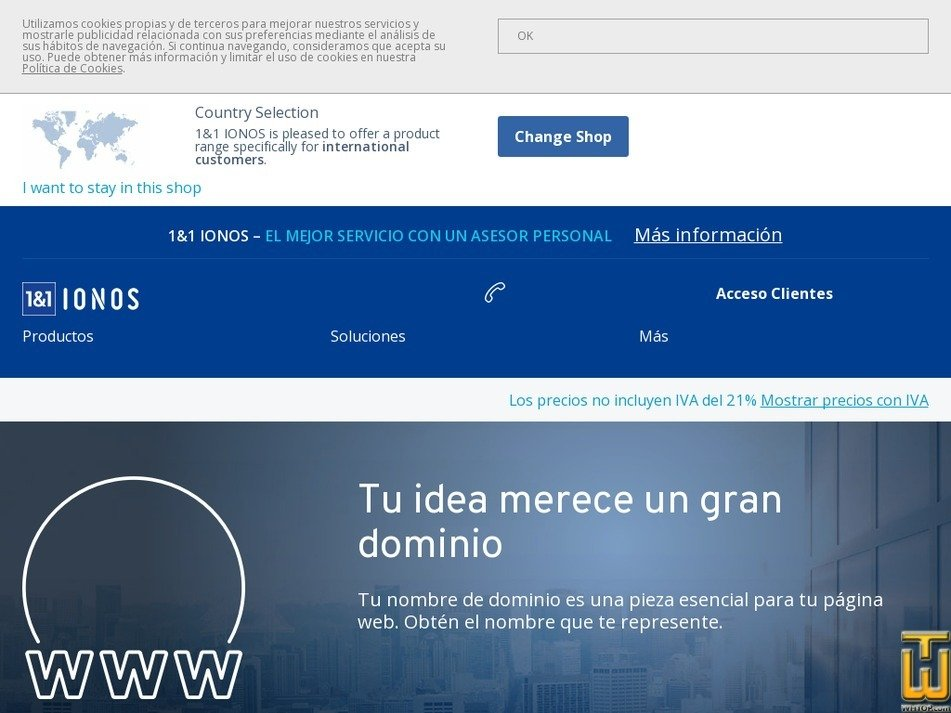 Screenshot of .com Dominio from ionos.es