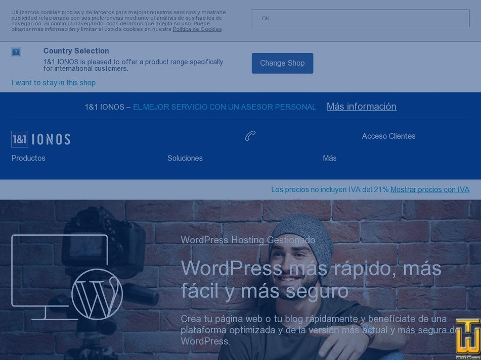 screenshot of WordPress Hosting Business from ionos.es