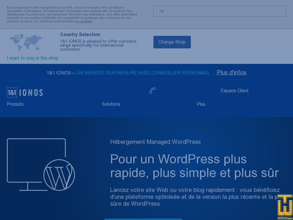 screenshot of Hébergement WordPress Essential from ionos.fr