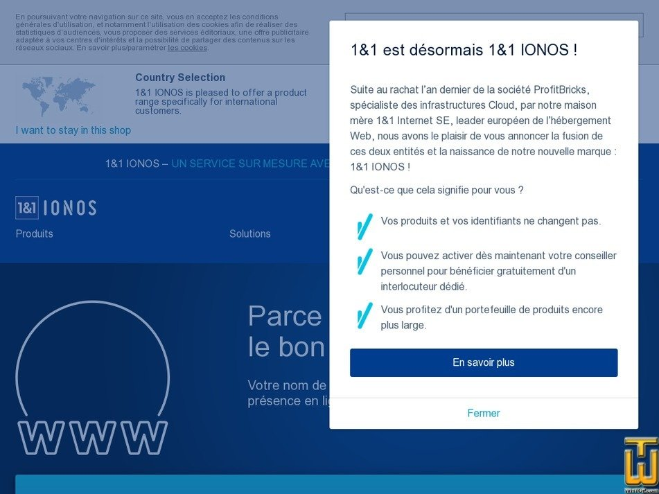screenshot of .fr Domaine from ionos.fr