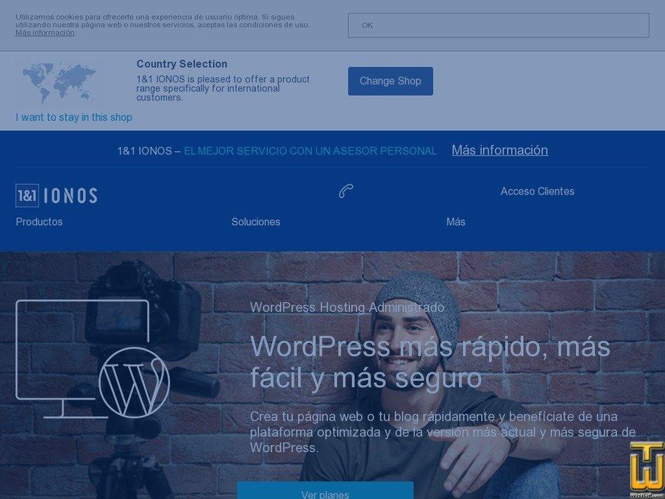 Screenshot of WordPress Hosting Expert from ionos.mx