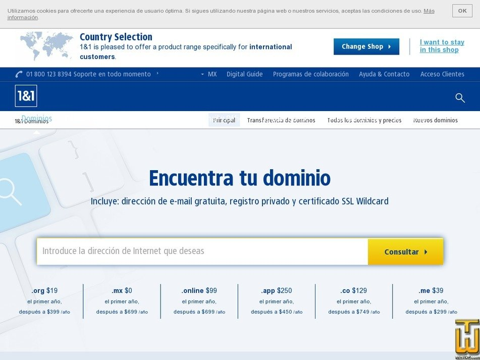 Screenshot of .com Dominio from 1and1.mx