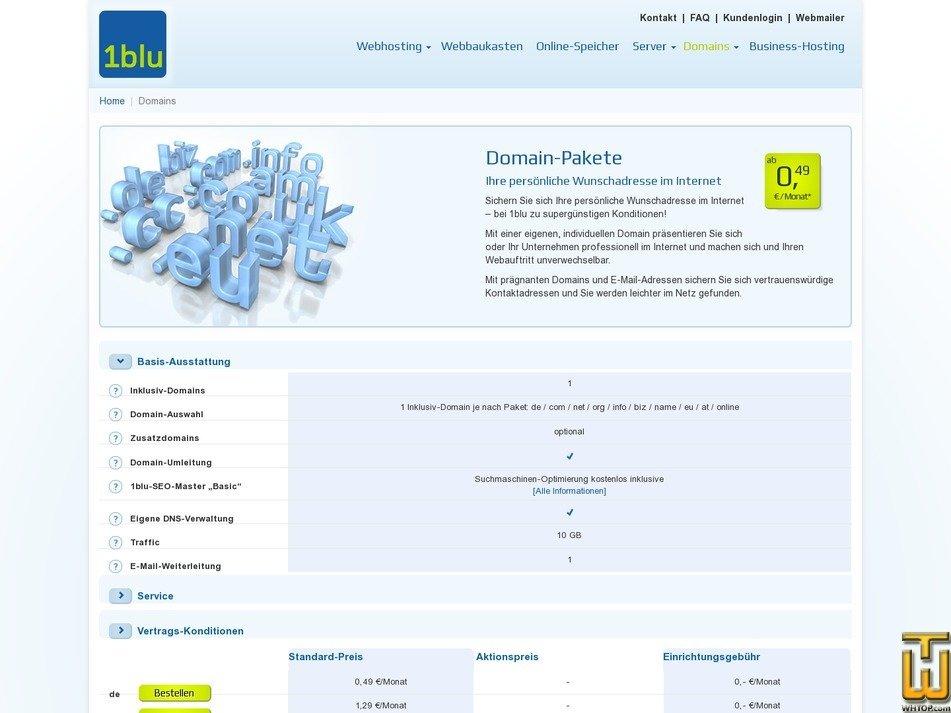 screenshot of .com from 1blu.de