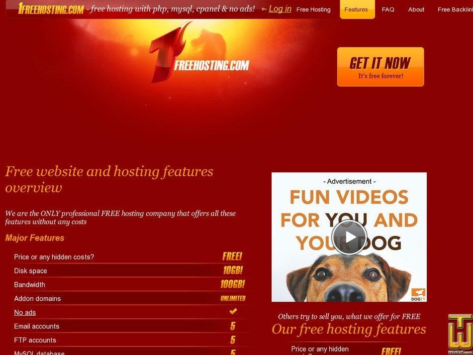 screenshot of Free Hosting from 1freehosting.com