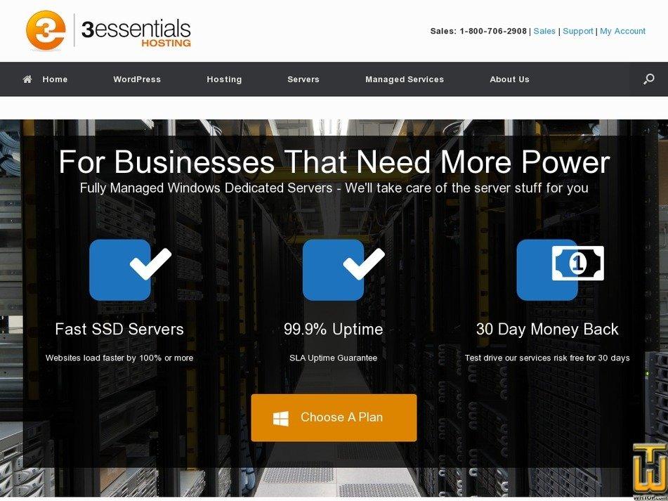 Screenshot of Managed Dedicated 8G from 3essentials.com