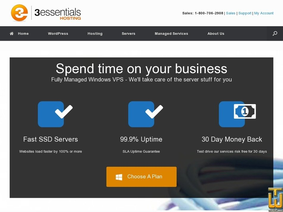 Screenshot of Managed One from 3essentials.com