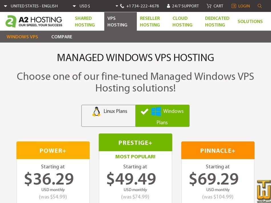 Screenshot of Pinnacle+ from a2hosting.com