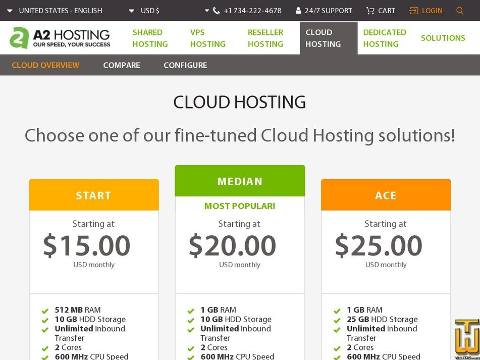 screenshot of Ace from a2hosting.com