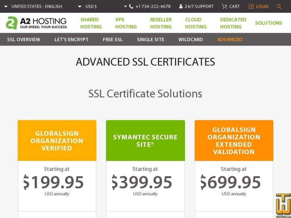 Screenshot of GlobalSign Organization Verified from a2hosting.com