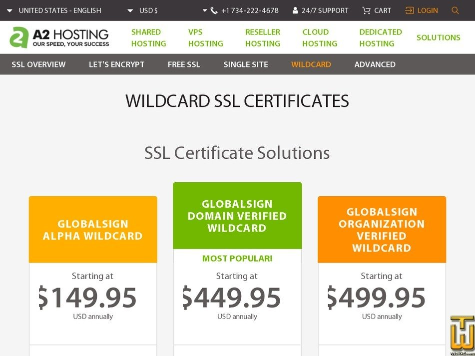 Screenshot of GlobalSign Alpha WildCard from a2hosting.com