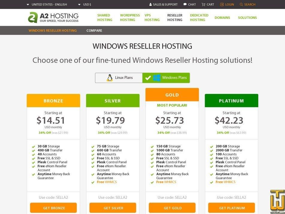 Screenshot of Bronze from a2hosting.com