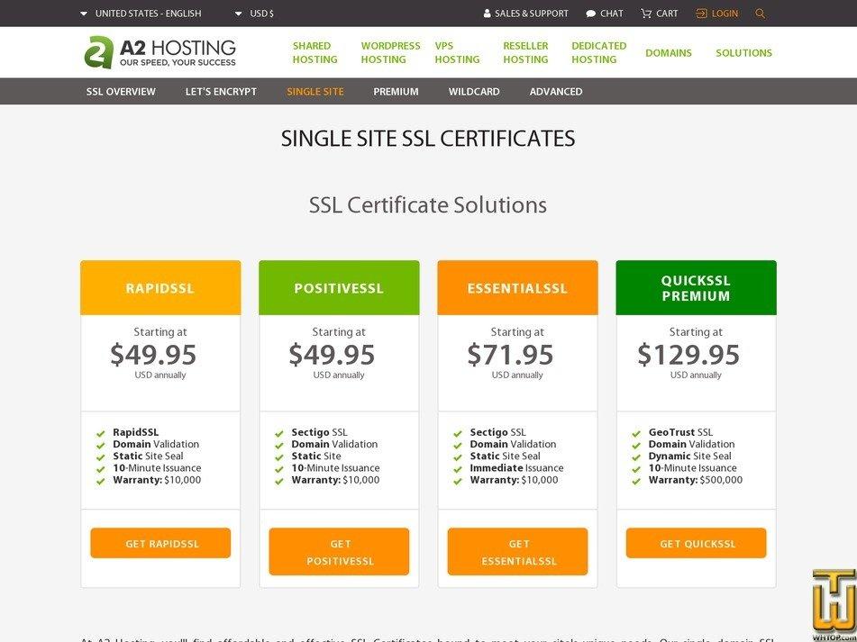 screenshot of QuickSSL Premium from a2hosting.com