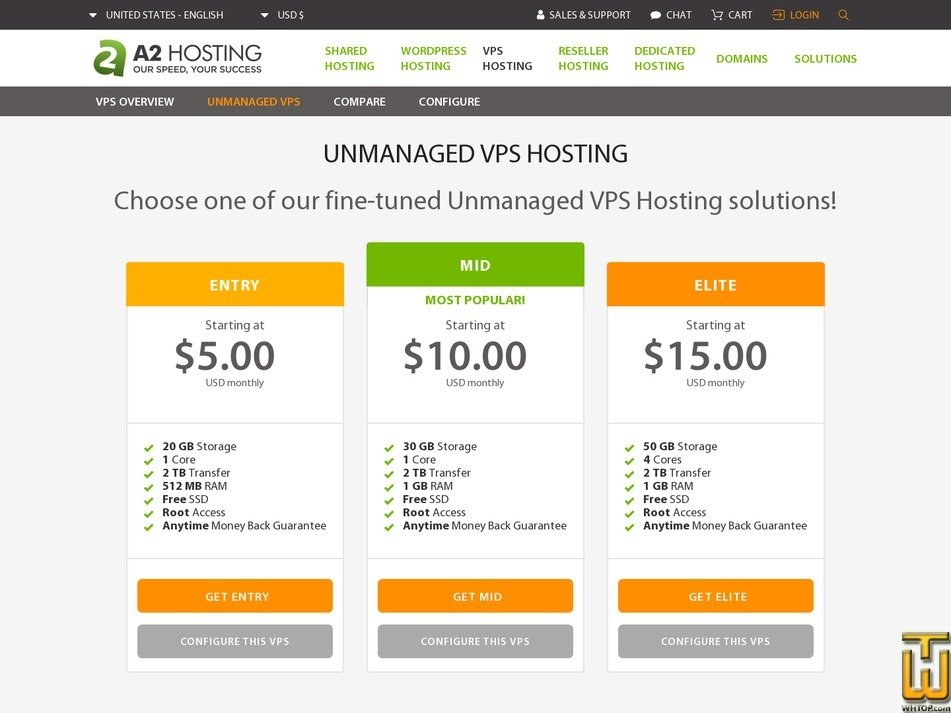 screenshot of Entry Unmanaged from a2hosting.com