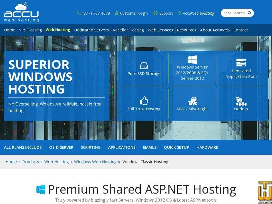 Screenshot of Windows Enterprise Web Hosting from accuwebhosting.com