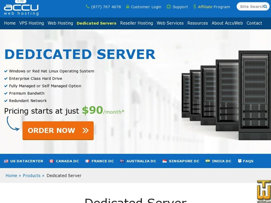 Screenshot of Dual Intel Gold 5118 (1x1 TB Enterprise) from accuwebhosting.com